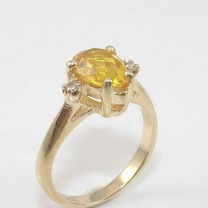 Solid 14K Gold Citrine Diamond Ring 4.25